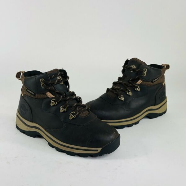 Timberland Boys Size 3.5 M Brown Leather Waterproof Lace Up Hiking Boots 66961 $39.97