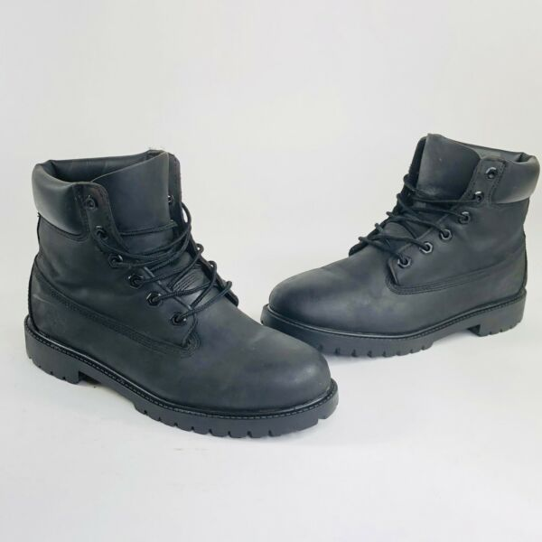 Timberland Boys Youth Junior Size 7 Black Leather 6 Inch Waterproof Boots 12907 $36.97