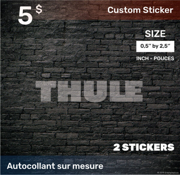 05 by 25 inch Sticker Decal Compatible THULE 2x white C $5.00