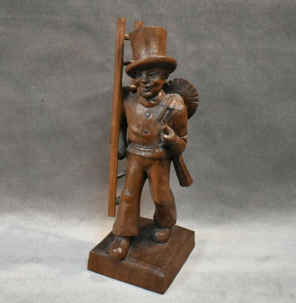 Black Forest Carved Wood 10quot; Chimney Sweep Figure Signed