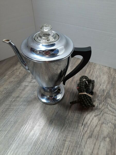 Vintage Hotpoint Coffee Percolator General Electric 199P57 Chrome Plated tested