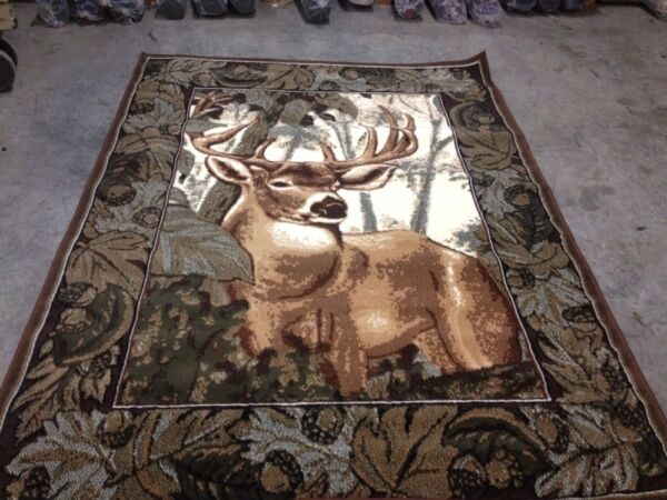 Hunting T69 DEER BORDER BUCK Hunting Lodge t69 Rug For The Home New** 5x7