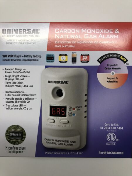 New Plug In Carbon Monoxide and Natural Gas Alarm 9 Volt Battery Backup MCN400B $12.50