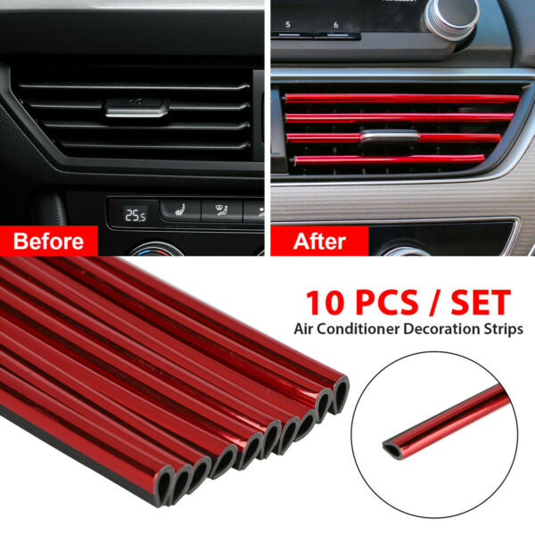 10x Car Auto Accessories Red Air Conditioner Outlet Decoration Strip Universal $6.12