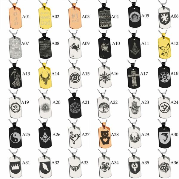 Stainless Steel Engraved Dad Bible Verse Zodiac Masonic Dog Tag Pendant Necklace $19.99