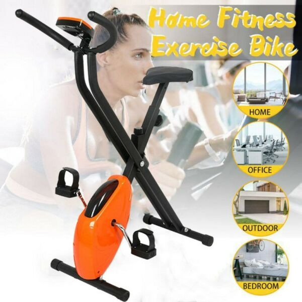 Folding Stationary Indoor Cycling Cardio Exercise Bike Workout with LCD Monitor $99.88
