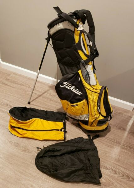 Titleist Light Weight Single Strap 4 Way Yellow Silver Black Stand Bag with Hood