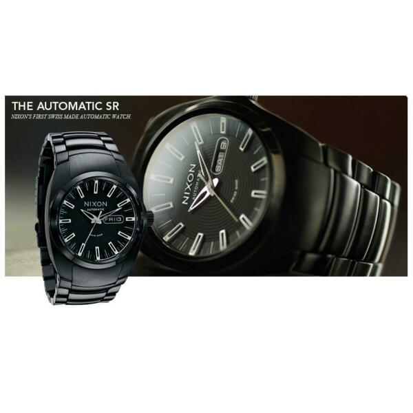 Nixon A006 001 The Automatic Men#x27;s Round Black Day Date Stainless Steel Watch