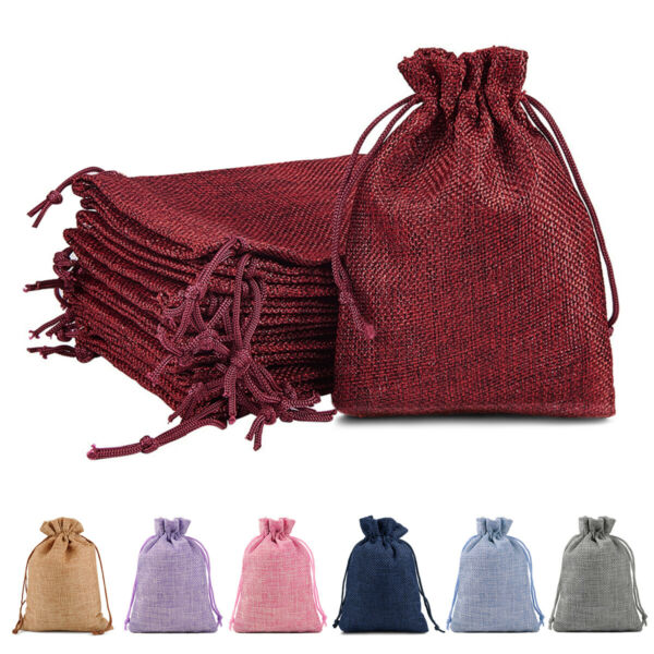 25 50 100 Pcs Wedding Burlap Bags Large Party Wedding Candy Wholesale Pouch 7x9quot;