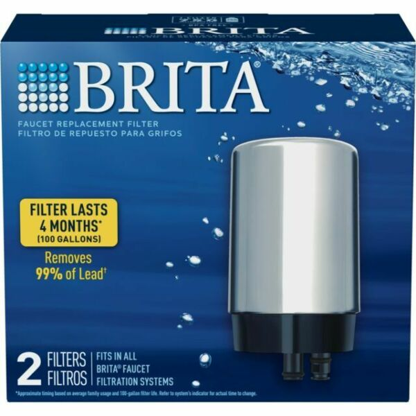 Brita On Tap Water Faucet Filter Replacement 2 Count Chrome 36312