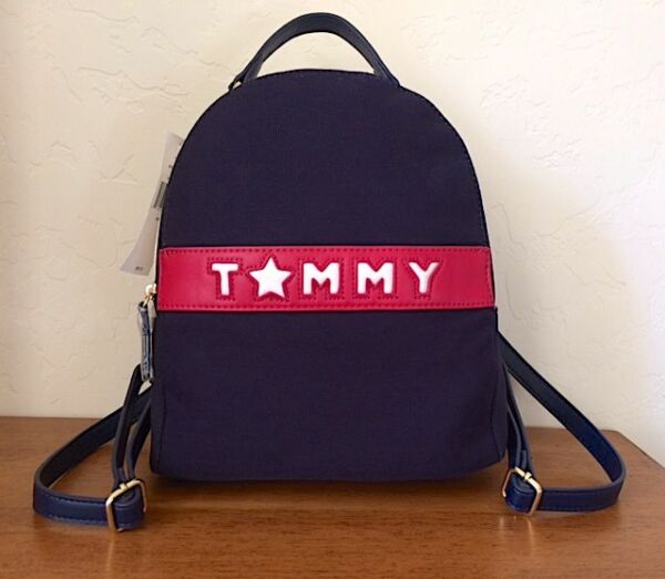 Tommy Hilfiger Navy Natural Tommy Logo Canvas Backpack NWT MSRP 89$TAX $30.00