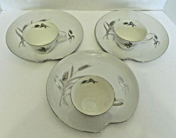 Patio Sets Snack Plates Milk White Silver Trim Silver Wheat Pattern Three Sets