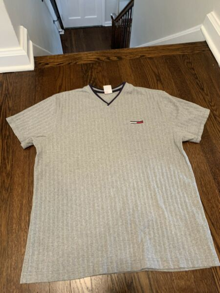 Mens Vintage Tommy Hilfiger Tee Shirt Size Large Gray $15.00