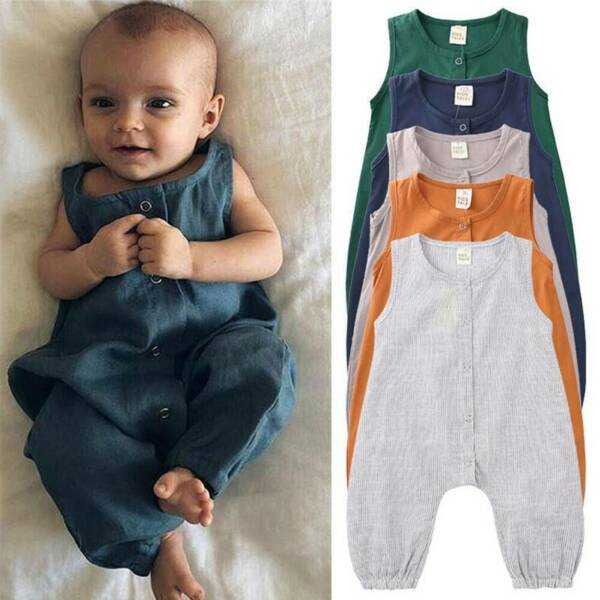 Toddler Baby Girls Boys Kids Romper Clothes Sleeveless Jumpsuits Casual Bodysuit