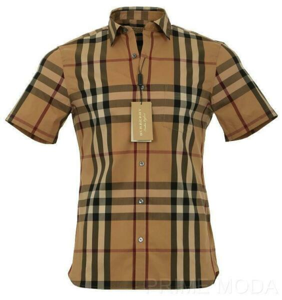 NEW BURBERRY MEN#x27;S CURRENT CHECK STRETCH COTTON SHORT SLEEVE SHIRT XXXL $246.39