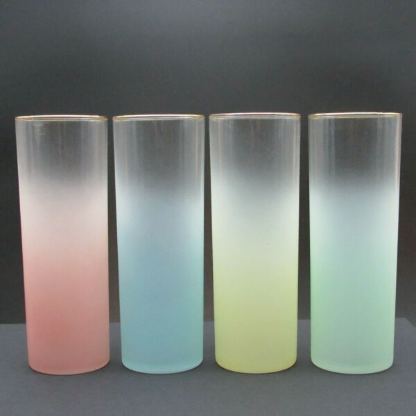 Vintage Federal Glasses Pastel Ombre Gold Rim Set of Four 4 Tall Tom Collins