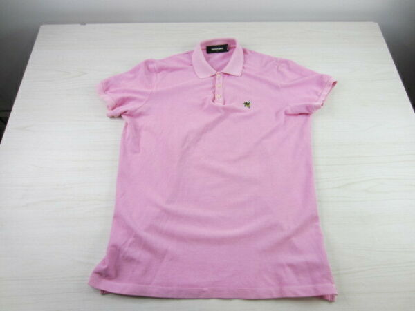 DSQUARED2 Italy Short Sleeve Pull Over Pink Slim Fit Polo Shirt Large $24.99