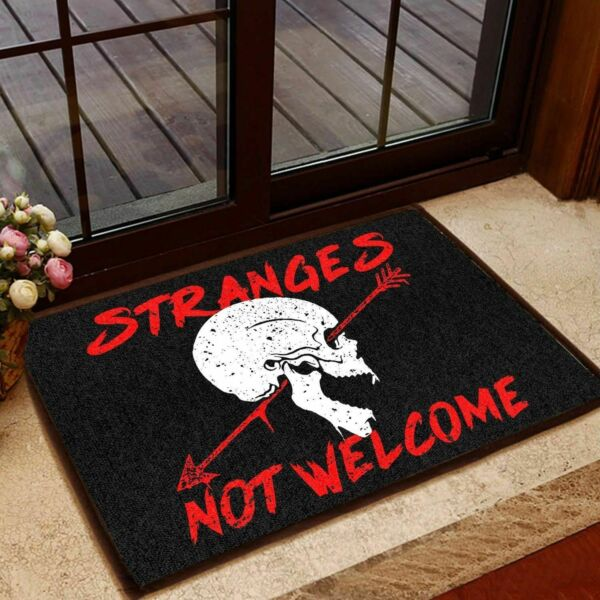 HOT Funny STRANGERS NOT WELCOME Front Door Mat Floor Rugs Outdoor Mats