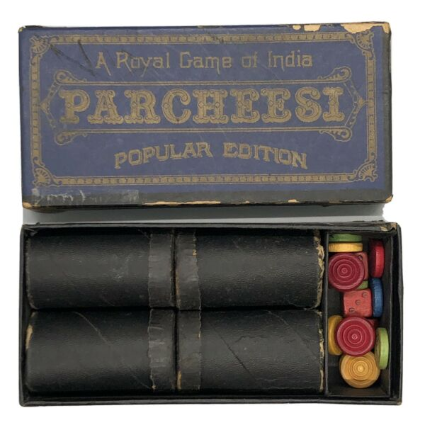 Vtg Parcheesi Replacement Wood Game Pieces w Original Box Selchow amp; Righter