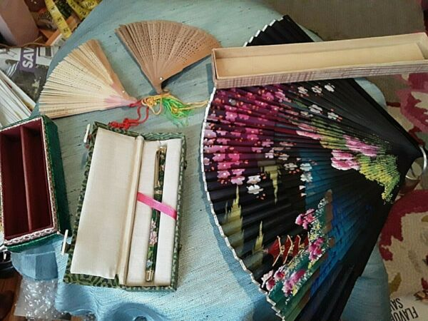 Asian Lot Vintage Chinese Cloth amp; Wood Fans Cloisonne Ink Pin Working in Boxes $19.00