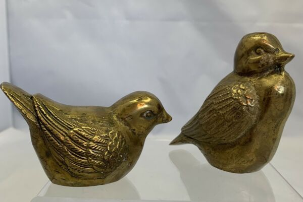 VTG Mid century Pair Of Small Brass Birds Heavy Weighted Cute