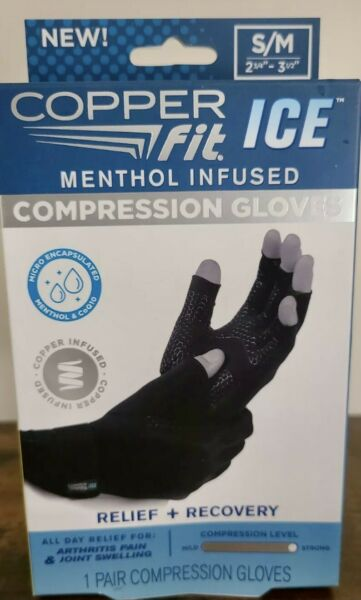 Copper Fit ICE Compression Gloves Infused with Menthol small med Black