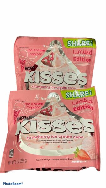 2 Hershey#x27;s Kisses Limited Edition Strawberry Ice Cream Cone Share Pack
