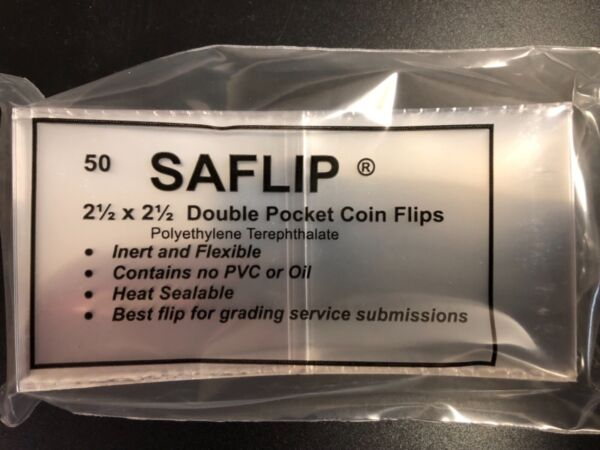 50 SAFLIP 2 1 2 x 2 1 2 Archival Quality Coin Holders Double Pocket Coin Flips $12.99