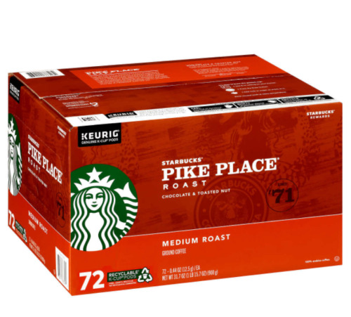 Coffee Starbucks Pike Place K Cups 72 Ct Keurig exp oct 2021