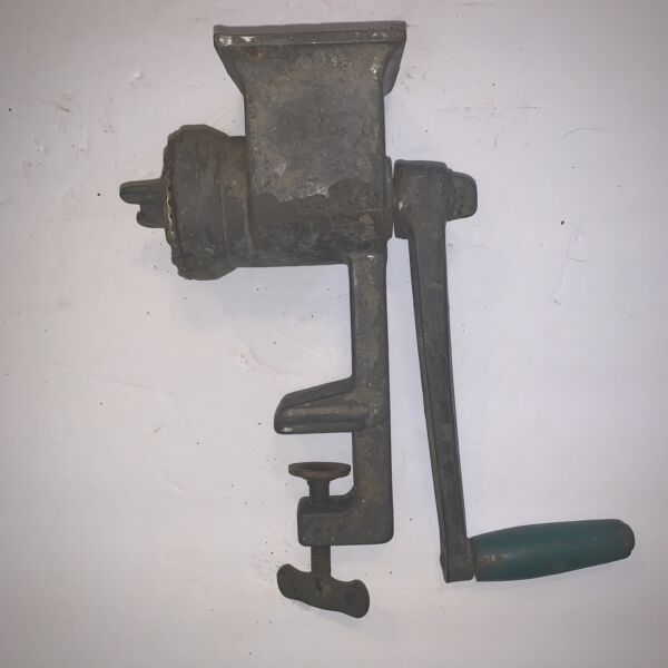 Antique Meat Grinder Square Top Good Used Condition See Pics E30
