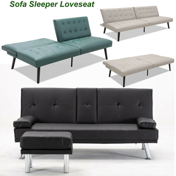 Sofa Bed Sleeper Convertible Futon Loveseat PullOut CouchRecliner Chair Leather
