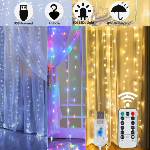 300 LED Curtain Fairy String Lights USB Twinkle Window Party Wedding with Remote