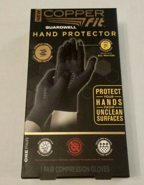 Copper Fit Guardwell Hand Protector GlovesUnisex Size S M Black