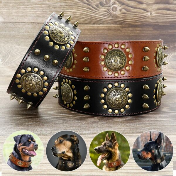 Heavy Brown Genuine Leather Dog Collar Spikes Studded Heavy Duty Free Shipping $25.99