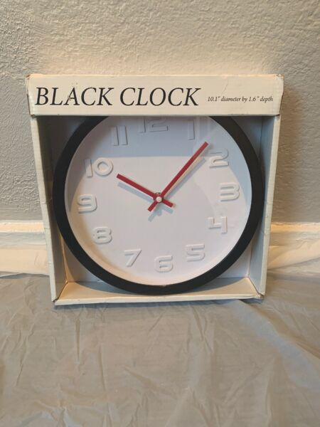 """Black Clock With Red Hands 10.1"""" Diameter By 1.6"""" Depth"""