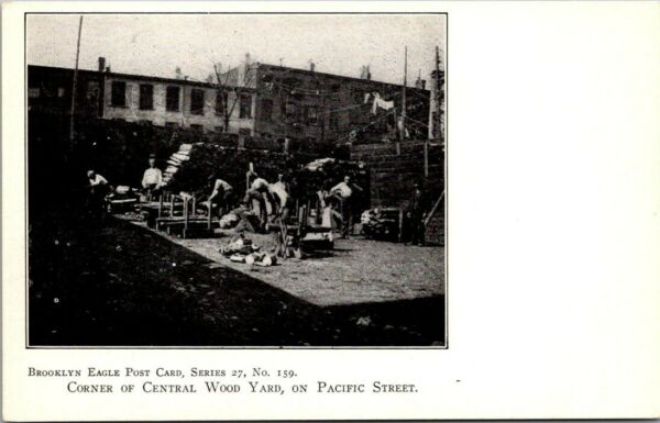 Postcard Corner Of Central Wood Yard On Pacific Street Brooklyn NY $17.50