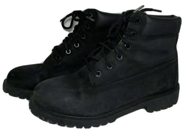 Timberland Boys Black Leather 6 Inch Waterproof Boots 12907 Sz 6.5 200 Grams $37.99