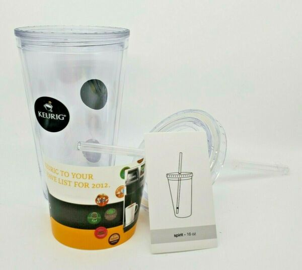 Keurig Cup Glass To Go Drinking w Straw NEW Spirit 16 oz Hot Or Cold BPA Free