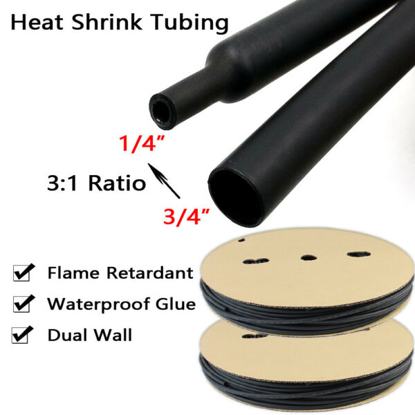 Heat Shrink Tubing 3:1 Electrical Waterproof Glue Adhesive Liner 15 ft x 3 4quot; $13.99