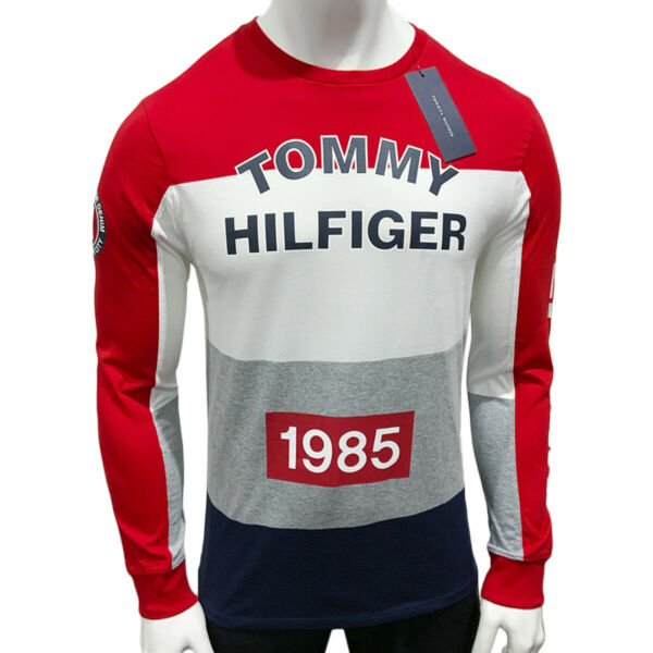 NWT TOMMY HILFIGER AUTHENTIC MEN#x27;S RED JERSEY CREW NECK LONG SLEEVE T SHIRT $34.99