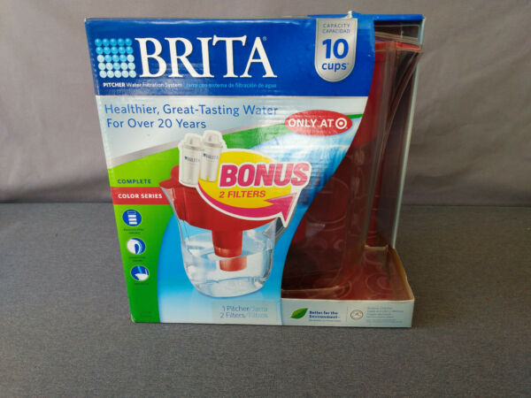 Brita Grand Color Series Red 10 Cup Water Pitcher Filtration System and 2 Filter