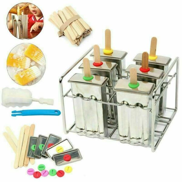 Stainless Steel Popsicle Molds and Rack 6 Ice Pop With 50 Wooden Sticks