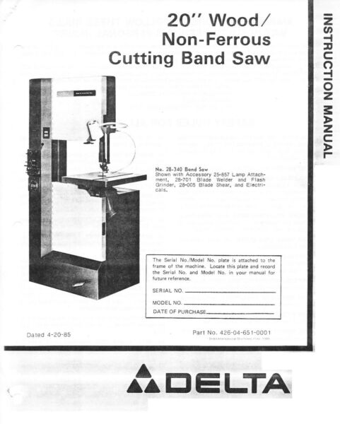 Delta Wood Non Ferrous Cutting Band Saw 20 inch Instructions Manual 1985 $6.97