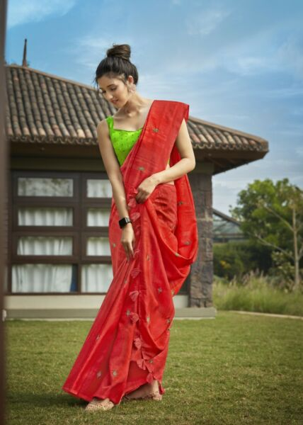 6233 Indian Women Casual Wear Tussar Weaving Silk Embroidery Work Blouse Sari $90.00
