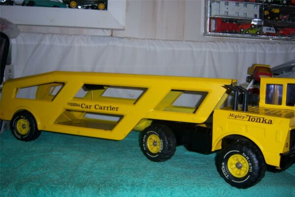 Tonka Mighty Car Carrier Truck 1970 # 3990 Fully Working Press Steel 34 1 2 Long $199.99