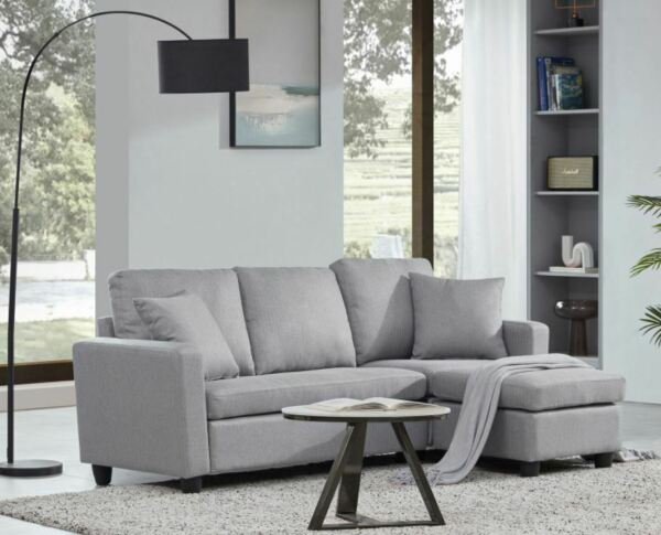 Linen Faux Leather Sectional Sofa L shaped Couch 3 Seat W Reversible Chaise $209.68
