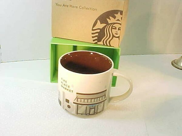 NIB Starbucks Pike Place quot;You Are Herequot; Ceramic Coffee Mug Seattle WA 14oz
