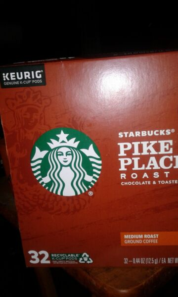 Starbucks Coffee k cups Keurig Pike Place Roast 32 count. 12 21