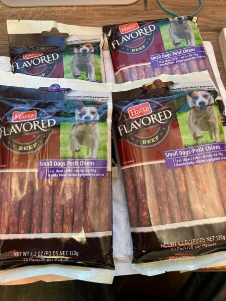 X#x27;s 4 Packs LOT of Hartz Rawhide Sticks Hickory Beef Flavor each 20 pack $29.95