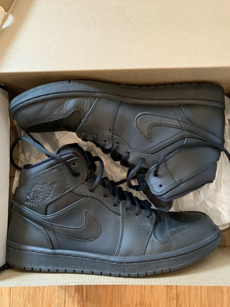Nike Air Jordan 1 Mid Black 9.5 WORN TWICE Come W Original Box Free Shipping